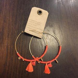 Anthropologie Halia Tasseled Hoop Earrings Orange